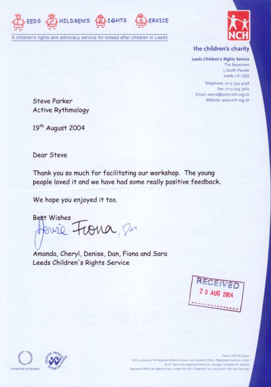 Leeds Children's Rights Service feedback letter