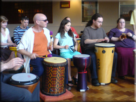 beginner groups get on well, have fun and improvise groovy rhythms together
