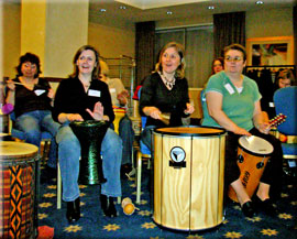 Fun drumming activity, the guests make their own entertainment.