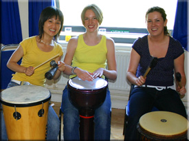 drumming up energy and beating out stress with drums, shakers and bells
