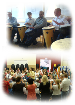 Drumming Circle Workshops or Boomwhacker Conference Energiser activities suitable for a handful upto hundreds.